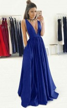 A Line Deep V Neck Sweep Train Royal Blue Prom Dress with Ruched JTA3921