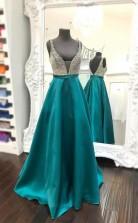 Beaded Plunging V Neckline Floor-length Teal Green Satin Prom Dress  JTA3951