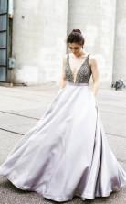 Straps Beaded Plunging V Neckline A Line Long Satin Prom Dress JTA3961