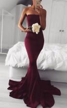 Elegant Strapless Mermaid Long Burgundy Prom Dress Bridesmaid Dress JTA3971