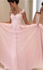 Gorgeous A Line Pink Chiffon Long Prom Formal Dress JTA3981