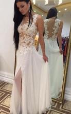 Floor-Length Chiffon Sleeveless Beaded Appliques White Prom Dress JTA4001