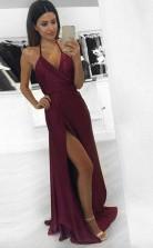 Sexy A Line Halter Burgundy Long Prom Dress Formal Evening Dress JTA4011