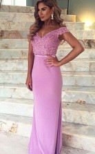 Mermaid Off-the-Shoulder Train Satin Prom Dress with Appliques Lace JTA4071