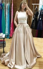 Two Piece Halter Sweep Train Prom Dress with Appliques Pockets JTA4081