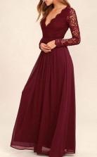 V Neck Long Sleevs Dark Burgundy Lace Chiffon Prom Formal Dress JTA4091