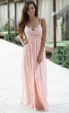 A Line Spaghetti Straps Backless Pink Chiffon Prom Dress with Lace JTA4101