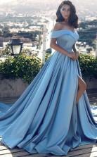 A Line Glamorous Off-the-Shoulder Long Evening Dress With Slit  JTA4161