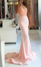 Mermaid High Nack Sweep Train Pink Satin Prom Dress with Beading Lace  JTA4261