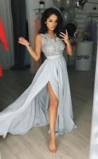 Elegant Sleeveless New Style Prom Dress Lace Split Chiffon Party Gowns JTA4321