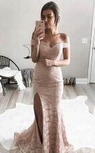 Mermaid Off-the-Shoulder Split-Side Sweep Train Pink Lace Prom Dress JTA4341