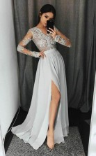 V Neck Long Sleeves Light Grey Chiffon Prom Dress with Appliques JTA4351