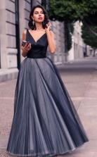 V Neck Sleeveless Tulle Floor Length Evening Dress Prom Dress JTA4391
