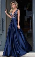 V Neck Royal Blue Satin Beading Prom Dress With Sweep Train JTA4431
