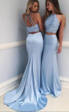 Elegant Halter Two Piece Prom Dress New Style Mermaid Long With Crystals JTA4471