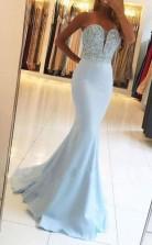 Mermaid Sweetheart Sweep Train Blue Prom Dress with Beading JTA4481