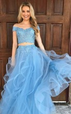 Two Piece Off The Shoulder Sky Blue Organza Prom Dress with Appliques JTA4511