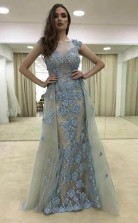 Sheath Illusion Round Neck Blue Tulle Prom Dress with Appliques JTA4521
