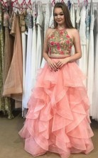 Two Piece Round Neck Tiered Pink Open Back Prom Dress with Appliques JTA4541
