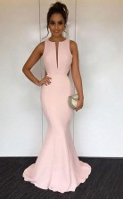 Mermaid Round Neck Sweep Train Pearl Pink Open Back Prom Dress JTA4561