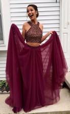Two Piece Halter Burgundy Tulle Open Back Beading Prom Dress JTA4591