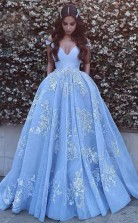 Ball Gown Off-the-Shoulder Sweep Train Blue Tulle Prom Dress JTA4641