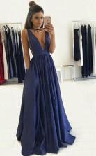 Deep V Neck Floor-Length Royal Blue Taffeta Prom Dress with Pockets JTA4651