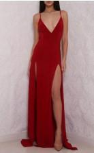 Deep V Neck High Slit Backless Red  Prom Formal Dress JTA4661