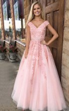 A Line V Neck Cap Sleeves Pink Tulle Beaded Appliques Prom Dress JTA4711