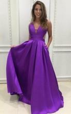Simple V Neck Sweep Train Grape Satin Prom Formal Dress JTA4771