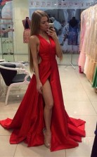 A Line Split-Front V Neck Floor-Length Prom Formal Dress JTA4811