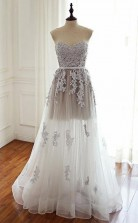 Sweetheart Floor-Length Tulle Prom Dress with Appliques  JTA4841