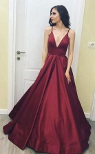 Simple V Neck Floor-Length  Satin Burgundy Prom Dress with Pockets  JTA4851