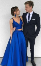 Two Piece Deep V Neck  Royal Blue Satin Prom Formal Dress  JTA4861