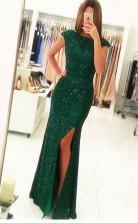 Mermaid Cap Sleeves Dark Green Open Back Sequin Prom Dress JTA4871