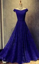 Royal Blue Floor Length Off Shoulder Prom Formal Dress JTA4881