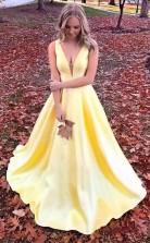 Simple A Line V Neck Satin  Cheap Prom Dress with Pocket  JTA4911