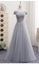 A Line Gray  Off the Shoulder Tulle Lace-up Sweetheart Prom Dress JTA4941