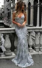 Mermaid Deep V Neck Sweep Train Grey Tulle Prom Dress JTA4951