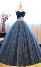 Ball Gown Sweetheart Navy Blue Lace Prom Dress with Beading JTA4971