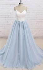 Spaghetti Straps Sweep Train Backless Light Blue Tulle Prom Dress JTA4981