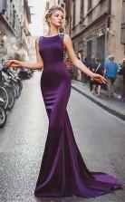 Neckline Satin  Purple Mermaid Evening Dress With Beadings JTA5061