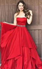 Strapless Red A Line Taffeta Long Prom Dress with Beaded JTA5221