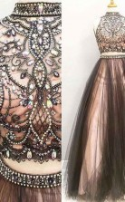 Two Piece A Line Halter High Neck Tulle Beading Prom Dress JTA5241