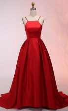 A Line Spaghetti Straps Sweep Train Red Satin Prom Dress  JTA5291