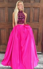 Two Piece High Neck Open Back Satin Prom Dress with Beading  JTA5311