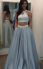 Two Piece PromEveing Dress  A Line Halter Floor Length Beading  JTA5331