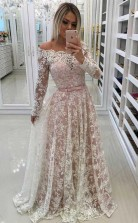 A Line Off-the-Shoulder Prom Dress with Lace Appliques Sleeves  JTA5351