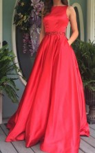 Elegant A Line Red Long Prom Formal Dress with Open Back  JTA5371
