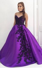 Sweetheart Ball Gown Purple Long Prom Dress with Black Appliques JTA5441